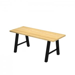 Atlas dining height communal table, solid beech top with Natural stain, Onyx Black frame