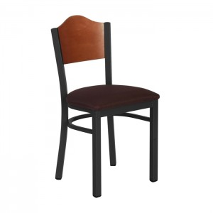Onyx Black Frame with Curved Veneer Back and Vinyl Upholstered Seat