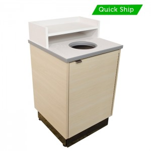 Beigewood laminate body with Frosty White laminate top and shelf