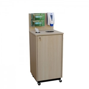Sanitizing Station, Beigewood laminate