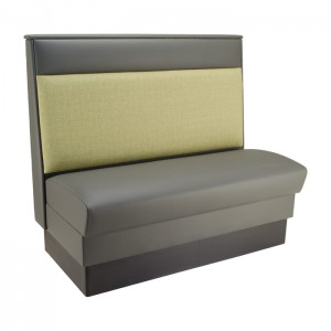 Slate Grey vinyl seat & headroll - Willow fabric  lower back - single booth shown
