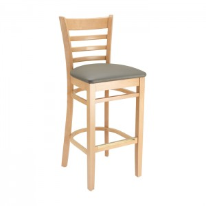 Natural Stain, Slate Grey Vinyl Ladderback Barstool with Upholstered Seat