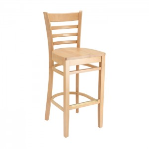 Natural Stain Ladderback Barstool with Wood Saddle Seat for Restaurants & Bars