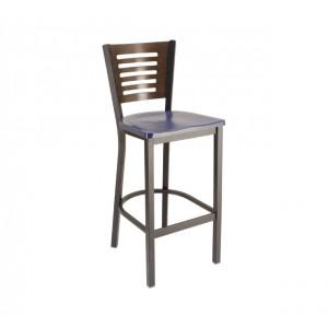 Atlantis Composite Seat, Truffle Stain Back, Onyx Black Frame Metal Restaurant Barstool