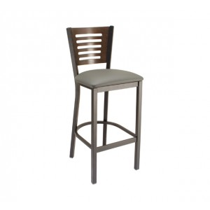 Slate Grey Vinyl Seat, Truffle Stain Back, Onyx Black Frame Metal Barstool for Restaurants & Bars