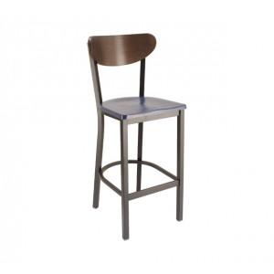 Atlantis Composite Seat, Truffle Stain Back, Onyx Black Frame Restarant Chair