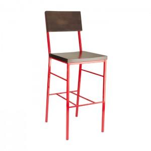Truffle stain, Red frame Aspen Barstool