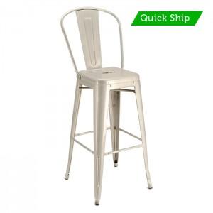 Paris metal bar stool with galvanized finish - quick ship