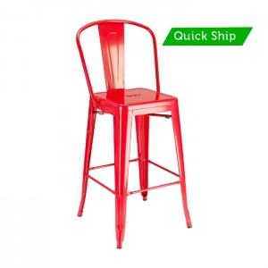 Paris metal barstool with red finish