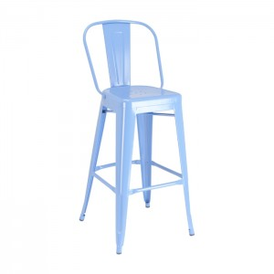 Calais Metal High Back Barstool - blue - front angle