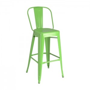 Green Calais High Back Barstool - front angle