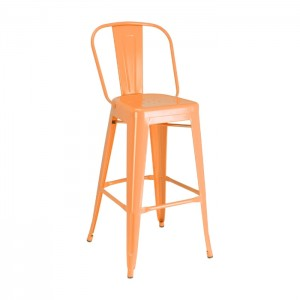 Orange Calais High Back Barstool - front angle