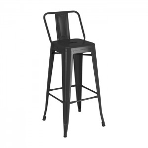 Calais Low Back Barstool - black - front angle