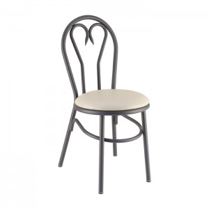 Heartback Metal Parlor Chair with Upholstered Seat