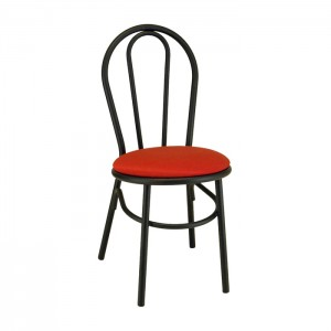 Loopback Metal Parlor Chair with Upholstered Seat