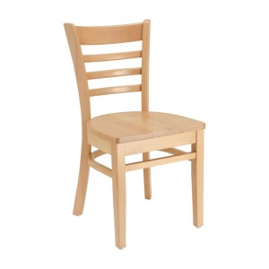 Natural Stain Ladderback Chair with Wood Saddle Seat for Restaurants & Cafes
