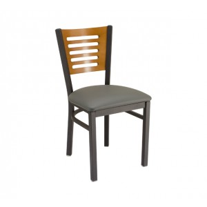 Fawn stain back, Slate Grey vinyl, Onyx Black frame Restaurant Chair