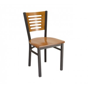 Park Avenue Rowback Metal Chair with Wood Saddle Seat