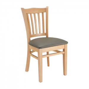 Natural Stain, Slate Grey Vinyl Jailhouse Chair with Upholstered Seat for Restaurants & Bars