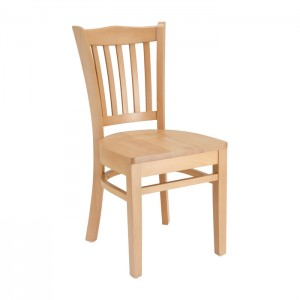Natural Stain Jailhouse Chair With Wood Saddle Seat For Restaurants Pubs