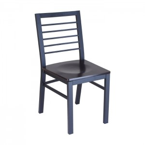 Latitude chair with Onyx Black frame and Rosewood stain seat, front angle