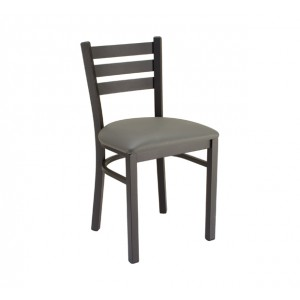 Slate Grey vinyl, Onyx Black frame Metal Chair for Restaurants & Bars