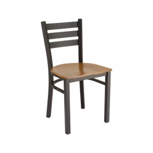 Fawn Stain, Onyx Black Frame Metal Restaurant Chair with Wood Saddle Seat