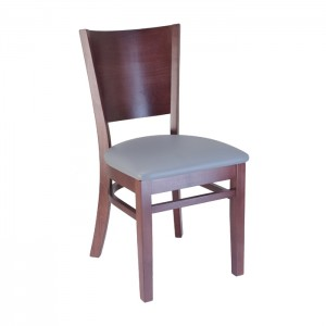 Keystone wood chair with Slate vinyl seat and Rosewood stain