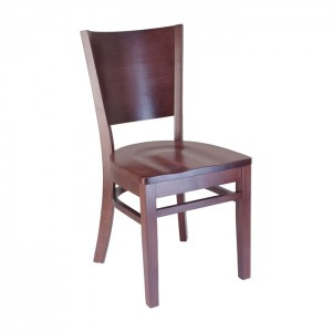 Keystone wood chair with wood saddle seat, front angle view