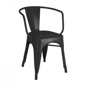 Calais arm chair - front angle - black