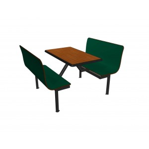 Hunter Green benches, Fonthill Pear table top with Black Dur-A-Edge