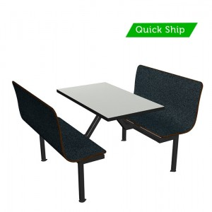 Graphite Nebula bench, Dove Grey table top, Black Dur-A-Edge