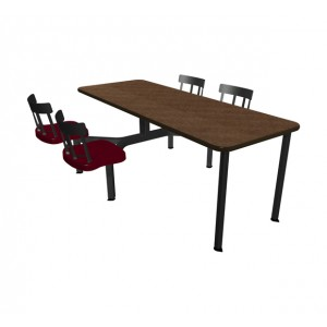 Windswept Bronze laminate table top, Black vinyl edge and Country chairhead with Burgundy composite seat
