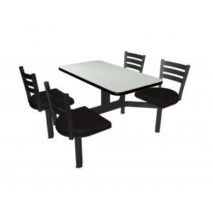 White Nebula laminate table top, Black Dur-A-Edge, Quest chairhead black vinyl seat