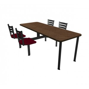 Windswept Bronze laminate table top, Black vinyl edge, Country chairhead with Burgundy composite seat