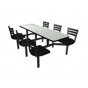Dove Grey laminate table top, Black vinyl edge, Quest chairhead with black vinyl seat