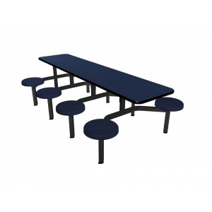 Navy Legacy laminate table top, Black Dur-A-Edge ®, Composite button seat in Navy