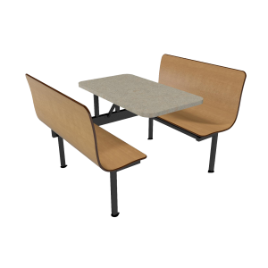 Monticello Maple benches, Bronze Legacy table top with matching laminate edge