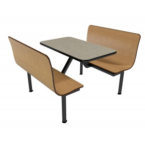 Monticello Maple benches, Bronze Legacy table top with Black Vinyl Edge