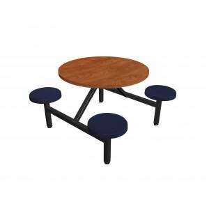 Wild Cherry laminate table top, Black vinyl edge, Navy composite button seat