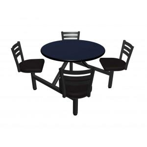 Atlantis laminate table top, Black vinyl edge, Quest chairhead with black vinyl seat