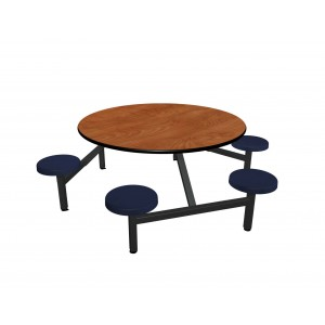 Wild Cherry laminate table top, Black vinyl edge, Navy composite seat