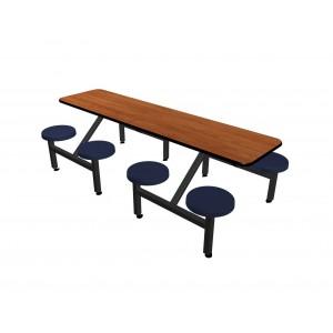 Wild Cherry laminate table top, Black Dur-A-Edge®, Navy composite button seat