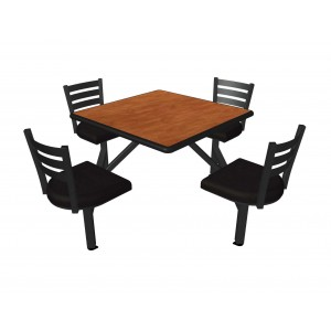 Wild Cherry laminate table top, Black Dur-A-Edge, Quest chairhead with black vinyl seat