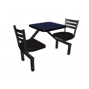Atlantis laminate table, Black vinyl edge, Quest chairhead with black upholstered seat
