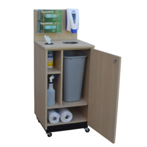 Sanitizing station inside cabinet